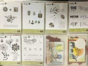 HUGE Lot of 8 sets Stampin Up STAMPS Funky Four PEDAL PUSHER Word Play Vintage +