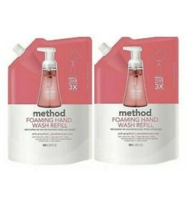 (2 Pack) Method Products Foaming Hand Soap Refill, Pink Grapefruit Scent, 28 OZ
