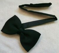 Vintage Bow Tie MENS Retro Dickie Bowtie Adjustable 1990s SOLID BLACK