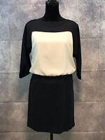 Ann Taylor Loft Women Navy & White Color Block Sheath Dress Size 6P 3/4 Sleeve