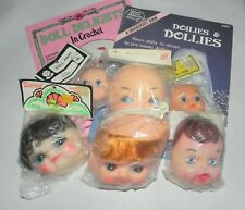 Vintage Doll Face Craft Lot + Doll Making Pattern Books Crochet and Doilies 80's