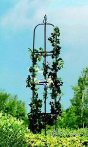 New Gardman Classical Garden Obelisk Black Steel Plant Support Roses