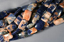 "SUPER ORANGE & BLUE AFRICAN SODALITE 25X18MM RECTANGLE BEADS  16"" STRAND"