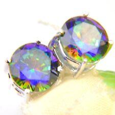 Dazzling Round Rainbow Mystic Topaz Cubic Zirconia Silver Stud Dangle Earrings
