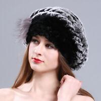Women Winter Rex Rabbit Fur Knitted Beret Hat  Cap  Elastic Fashion Warm Gift