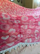 Vintage 1960s 1970s 4 Poster Bed Canopy Mid-Century Pink Netting Curtain