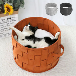 Round Cat Bed Basket Nest Cotton Warm Pet Sleeping Bed House with Removable Mat