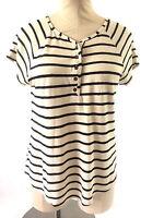 Lucky Brand Womens Knit Top Size S Black Beige Striped Henley Short Sleeve Soft
