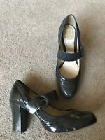 Clarks Active Air Leather Patent Grey High Heeled Shoes Dolly Style Uk 4.5 VGC