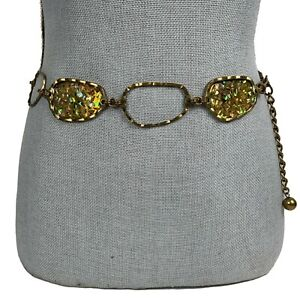 CHICOS Adjustable Belt Size S/M Opal Look Concho Chain MSRP $79.00 Bronze-gold