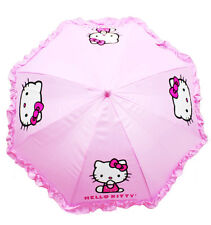 Hello Kitty Ruffle Collapsible Kids Girls Umbrella With 3D Handle