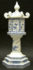 Japanese Meiji blue & white Hirado Porcelain Pagoda Incense Burner