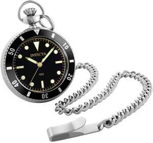 Invicta Men's Vintage Quartz Black Dial Stainless Steel Pocket Watch 34400
