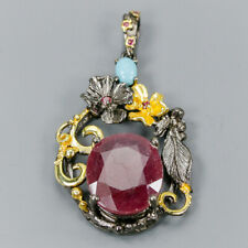 Vintage30ct+ Natural Ruby 925 Sterling Silver Pendant /NP08163