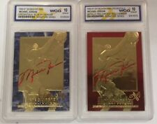 (2) MICHAEL JORDAN AUTOGRAPHED EX-2000 GEMMT 10 23KT GOLD CARD LOT! RED & BLUE!