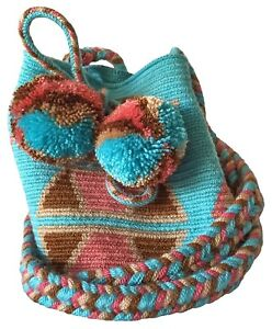 OOAK Traditional and OriginalWayúu MOCHILA Bag Blue in a XSmall Size