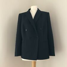 HOBBS Blazer Jacket Size 14 Navy Wool Blend Double Breasted Style Smart Career