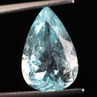 7.61 Cts Certified Natural Aquamarine Pear Cut Sparkling Untreated Gemstone