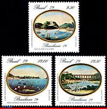 1635-37 BRAZIL 1979 PHILATELIC EXPOSITION, BRASILIANA, PAINTING, MI# 1728-30,MNH