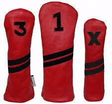 Sunfish Red and Black Leather golf headcover set - DR, FW, HB