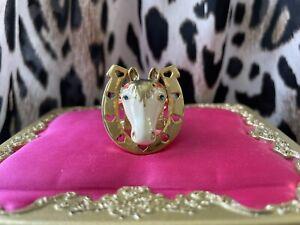 Betsey Johnson Vintage Indian summer White Horse Gold Horseshoe Ring 7.5 RARE