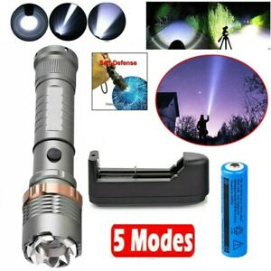 High Power 990000LM LED Flashlight Strong Beam Light Military Torch Rechargeable