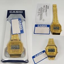 CASIO Retro Classic Unisex Digital Steel Bracelet Watch-A168WA-1YES Gold (Boxed)