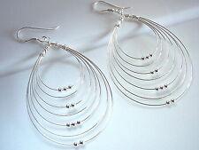 Multi Teardrop Hoop with Movable Mini Balls Earrings 925 Sterling Silver Dangle