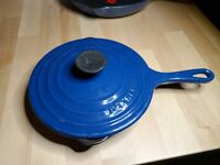 LE CREUSET #20 Cast Iron INDIGO BLUE Enamel Double Spout Skillet Fry Pan FRANCE