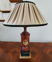 Vintage Red Black Goldtone Jar Style Base Wood Lamp