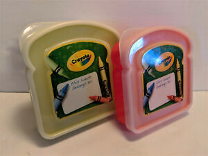 Container Set CRAYOLA Sandwich Food Thermos Snack Treat Storage Box 2pc 4 Colors