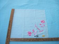 VINTAGE 1950'S PINK L W/FLOWERS FLORAL ORIGINAL TAGS HANKIE HANDKERCHIEF UNUSED