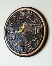 Round copper wall clock, 100% natural metal elegant style interior decor Art