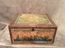 Antique Vintage 1931 Biscuit Cookie Tin Box Aeroplane View of Manhattan NY