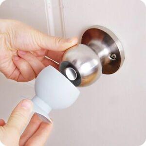 2pcs Cup Door Knob Dust Covers Round Rubber Wall Protector Door Handle Bumper