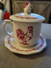 Andrea By Sadek Trostil Red Rooster Barnyard Toile Cup with Lid & Saucer