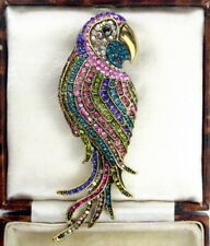Fabulous CRYSTAL Diamante Vintage Style PARROT Statement Brooch / Pin