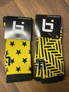 Ballslife socks yellow and back two pack