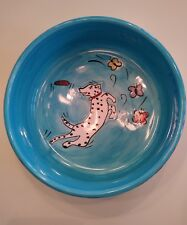 Fields of Fun Hand Painted Dog Bowl Tabletops Gallery dog chasing butterflies