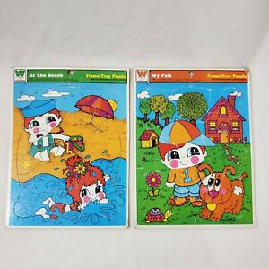 Vintage Frame Tray Puzzles Set Whitman My Pals At the Beach Dog Puppy Swimming