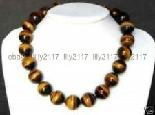 Long 22inch Natural 14MM Tiger's-eye Gems Yellow Round Beads Necklaces