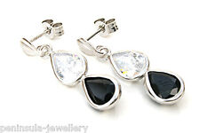 9ct White Gold Sapphire Teardrop earrings Made in UK Gift Boxed