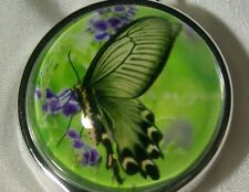 BUTTERFLY LAVENDER GREEN - CHROME ID BADGE REEL holder with Lanyard attachment