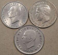 Greece 5 Drachmai 1954 AU,1970 XF, + 10 Drachmai 1959 XF