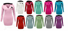 Ladies New Hooded Miss Sexy Long sleeve T shirt Hoody Jumper Top Sweatshirt 8-20