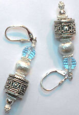 STERLING SILVER .925 BLUE TOPAZ EARRINGS ONE OF A KIND! LEVER BACK NEW STYLE
