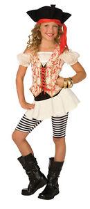 GIRLS SWASHBUCKLER PIRATE COSTUME DRESS & HAT LF4007