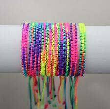 New 10pcs Colorful Rainbow Silky Macrame Hand-weave Friendship Bracelets Anklets