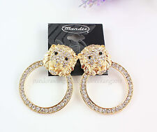 Unique Gold Plated Crystal Animal Large Lion Head Ear Stud Earrings