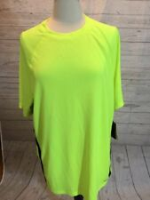 "TEK GEAR Neon Yellow/Black Performance Short Sleeved Shirt XXL 2X NWT 52"" Chest"